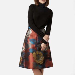 Topshop Floral A-Line Midi Skirt Size 2